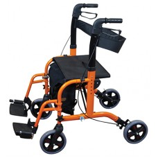Deluxe Duo Rollator / Transit Chair - Orange