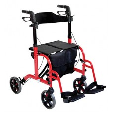Deluxe Duo Rollator / Transit Chair - Red